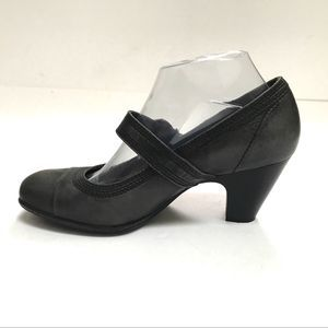 Nurture Gray Leather Mary Jane Pumps Buckle Detail